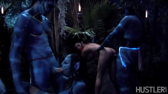 Group sex with avatars in the jungle