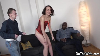 Сuсkold eats cum from wife's pussy after anal fucking with a black man