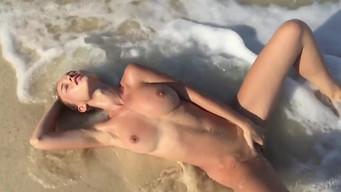 Naked Natalia Nemchinova posing on a Turkish wild beach by the sea