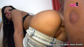 Tanned German girl in jeans deeply sucked dick after anal fucking