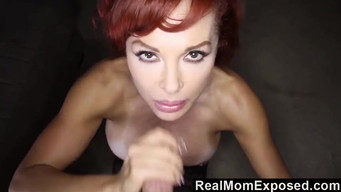 Redhead MILF in stockings fucks the director to get a movie role.