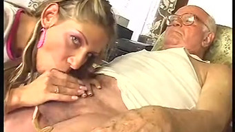 Granddaughter masturbate and suck grandfather dick during the game of dolls
