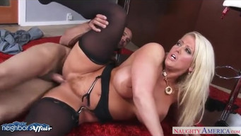 Curvy blonde with huge boobs fucks her neighbor in the kitchen