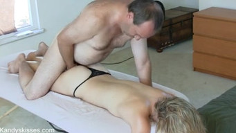 Hairy man does massage and penetrates fingers into the vagina