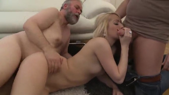 The old man checked a dick whether the blonde is ready to become his daughter-in-law