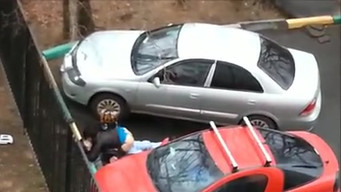 Drunk couple fucks in the parking lot near the house