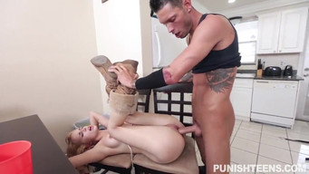 Guy powerfully fucks a tied chick as a punishment for whore