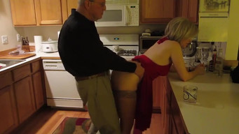 Old man fucks his younger wife in the kitchen