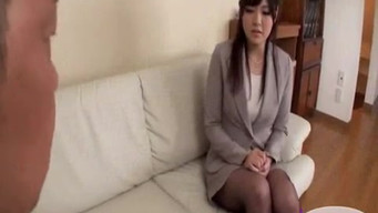 A man took off a Japanese whore and fucked her in a pussy