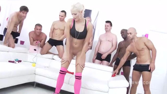 10 men at the same time crowd a little blonde