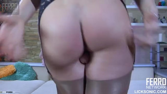 Russian lesbians strapon each other in butt and pussy