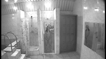 Hidden camera in the sauna takes pictures of how girls wash and bathe