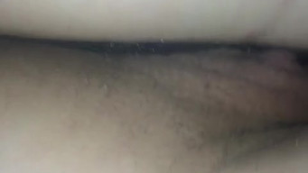 Closeup husband took off the shaved vagina of a sleeping wife