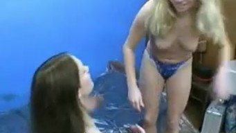 Blonde and brunette poop on each other and smeared with shit