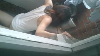 Friends filmed teenagers fucking on the balcony