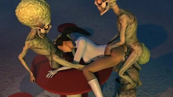 Martians attack the pussy and mouth of the schoolgirl of the astronaut from the Earth