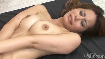 Asian licked Japanese girl's swollen cunt and sat on cock