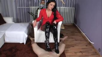 Mistress in nylon pantyhose fingering fetishist's dick