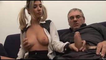Cum on the tits of a young dancer after fucking with a banker
