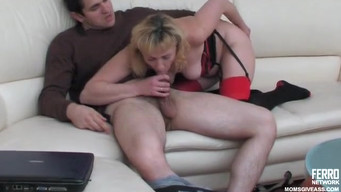 Masturbating mom was fucked by her son in the ass