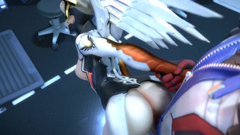 "A soldier bent over Mercy from the game ""Overwatch"" and roughly fucked"