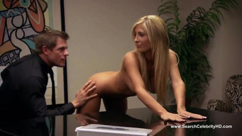 The boss fuck a secretary on a leather chair in a pussy