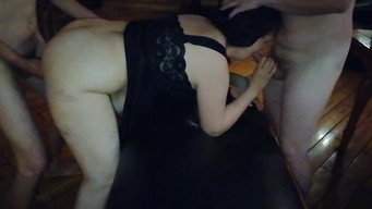Girl gets fucked hard in a hot sauna in doggy style and cum in mouth