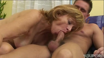 Nephew fucked aunt in hairy pussy, arousing her naked torso